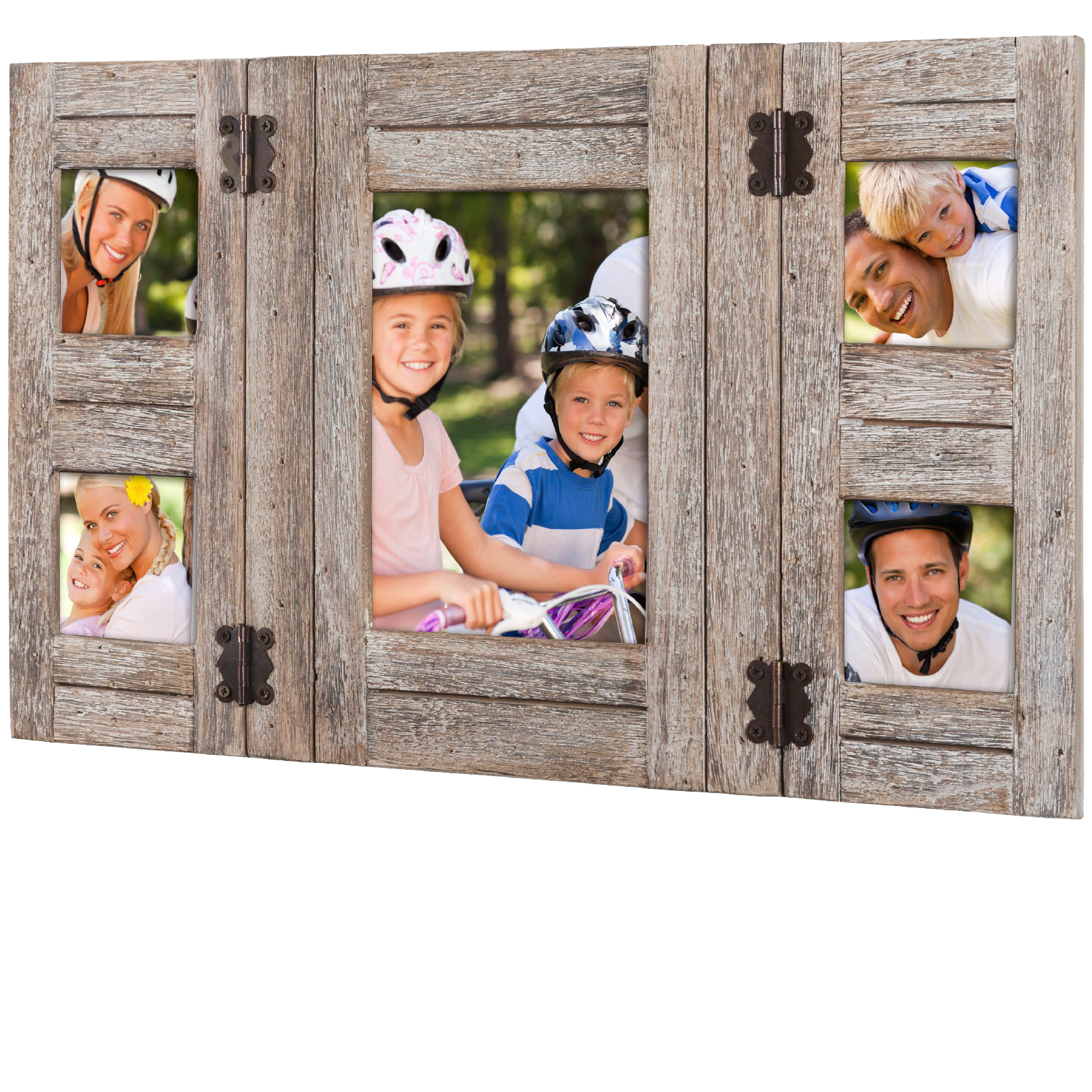 Rustic Distressed Wood Collage Picture Frames Holds 5