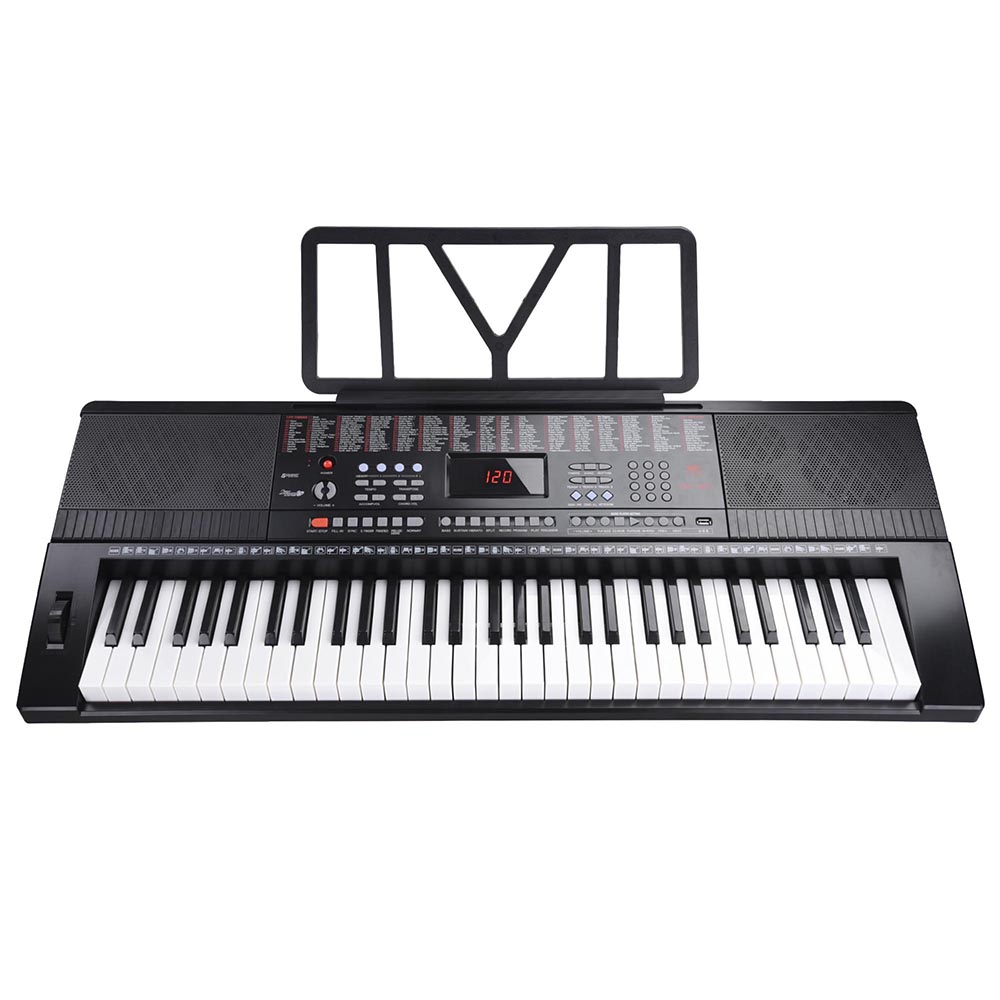 61 Key 110v Full Size Electronic Piano Music Electric Keyboard LCD Display USB Input MP3 Black