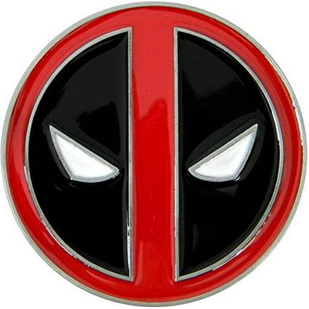 Deadpool Belt Buckle, Die Cast Chrome Finish Enamel Fill