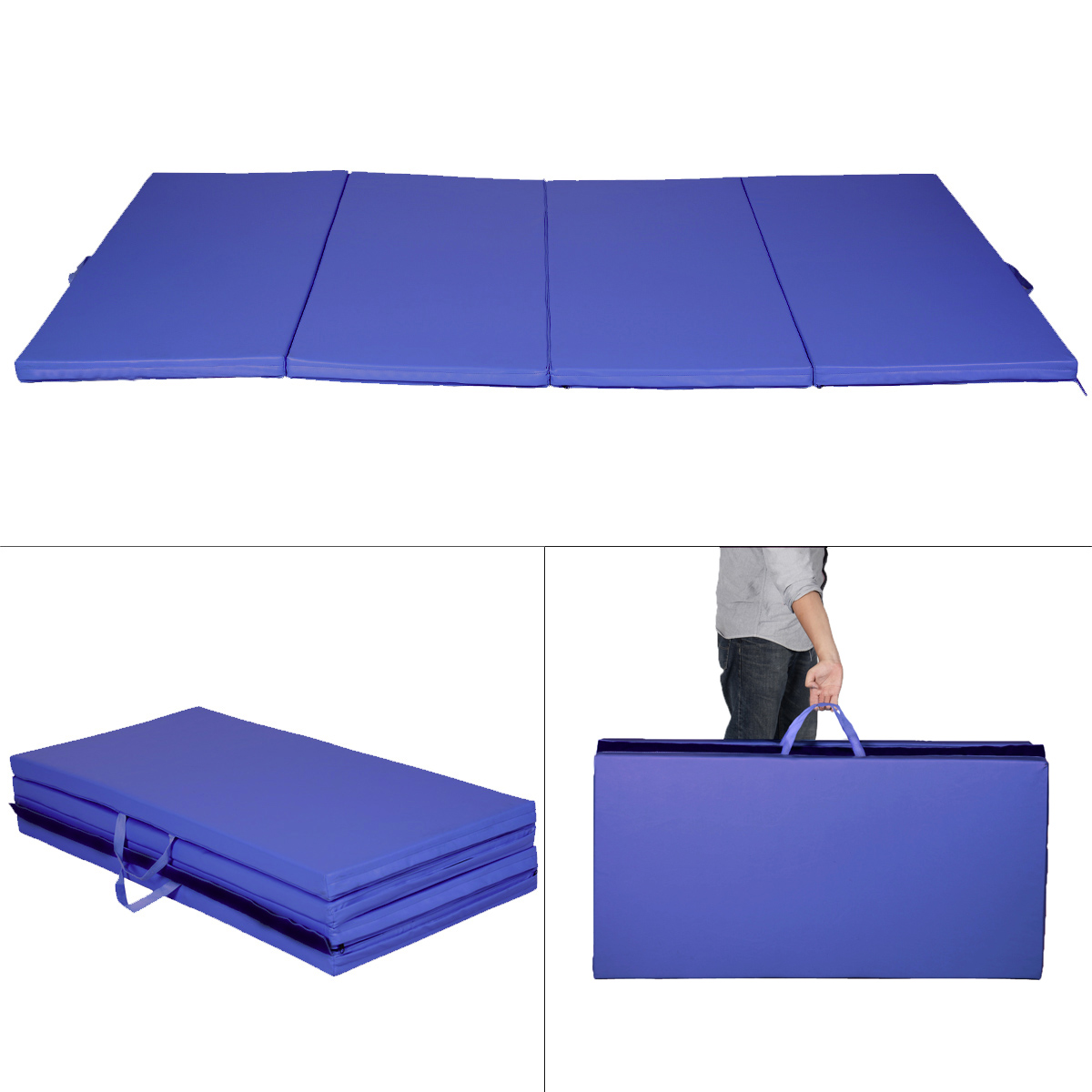 for mat walmart gymnastics ip thick costway panel com home fitness pink purple gym exercise folding gymnastic mats