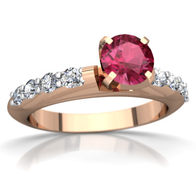 Pink Tourmaline Engagement Ring in 14K Rose Gold by