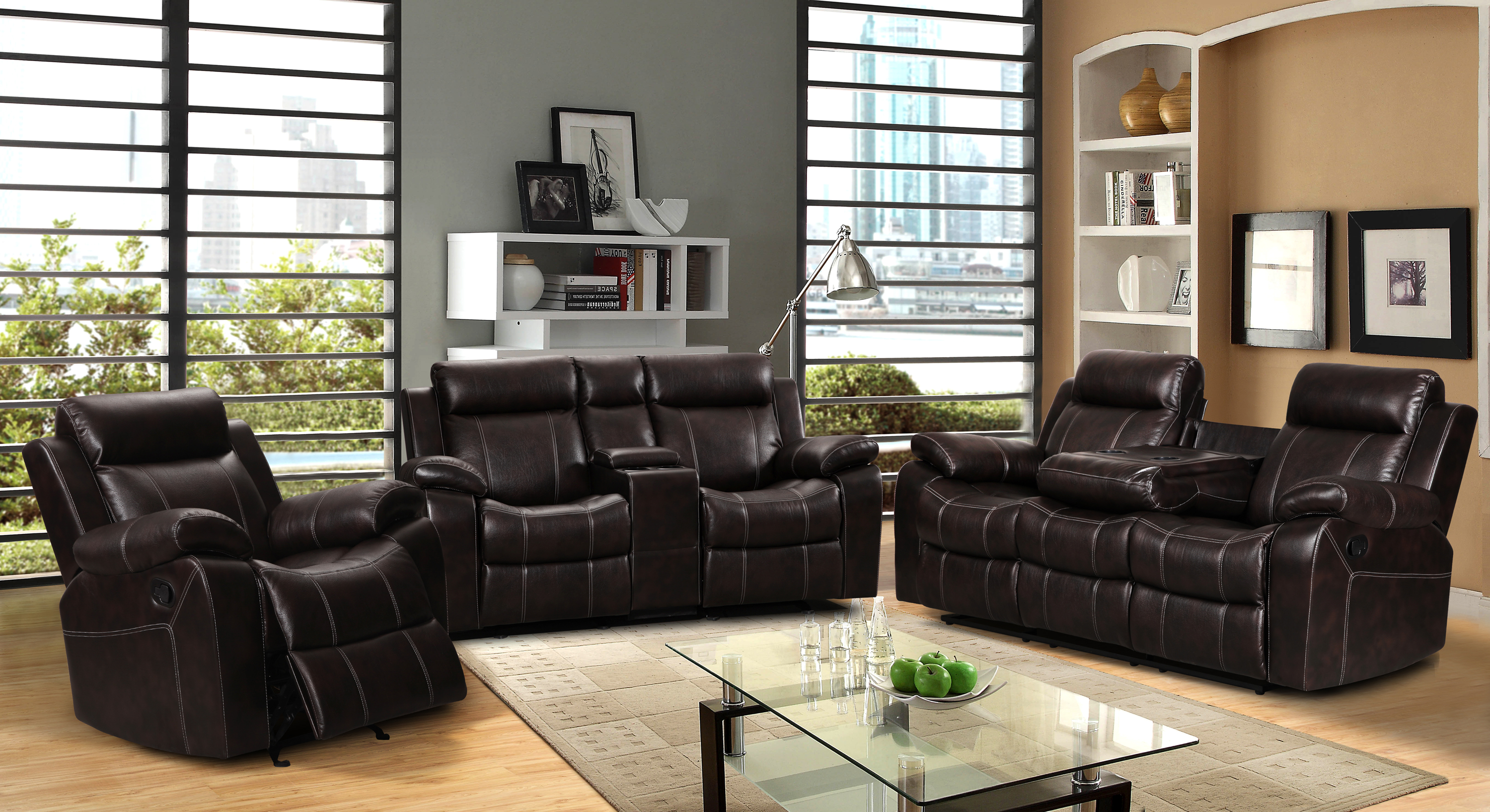 Vivienne Dark Brown Leather Air 3 pc Reclining Sofa set with Gliding Loveseat and Chair  sc 1 st  Walmart & Vivienne Dark Brown Leather Air 3 pc Reclining Sofa set with ... islam-shia.org