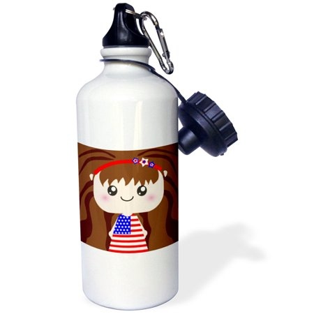3dRose Cute Kawaii Cartoon Patriotic Girl wearing American Flag Dress for July 4th Independence Day, Sports Water Bottle, 21oz