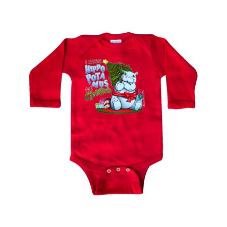 I Wanna Hippopotamus for Christmas- cute hippo Long Sleeve Creeper (Hippo Baby Clothes)