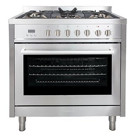 5 Burner Convection Gas Range - Cosmo F965 36-Inches Dual Fuel Gas Range with 3.8 cu. ft. Oven, 5 Burners, Convection Fan, Cast Iron Grates and Black Porcelain Oven Interior in Stainless Steel