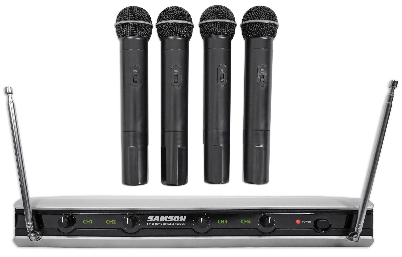 Samson Stage v466 Quad (4) Handheld Karaoke Wireless Microphones Mic System by Samson