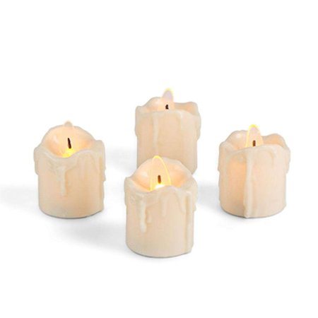 """Gerson 43832 - 1.7"""" Bisque Wavy Edge Drip Battery Operated LED Votive Candle (4 pack)"""