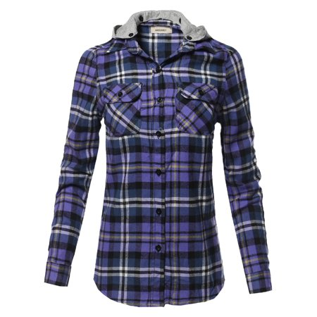 FashionOutfit Women's Casual Flannel Roll-Up Sleeve Button-Down Shirts with (3 Button Flannel)