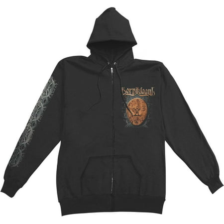 Drum Sweatshirt - Korpiklaani Men's  Shaman Drum Zippered Hooded Sweatshirt Black