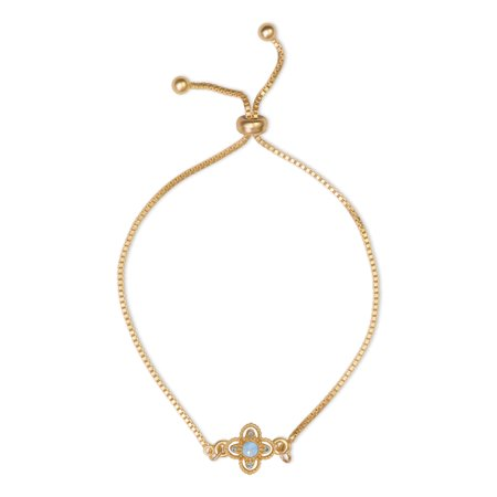 14K Gold Plated Pacific Opal and Light Sapphire Flower Drawstring Bracelet, Made With Swarovski Crystals