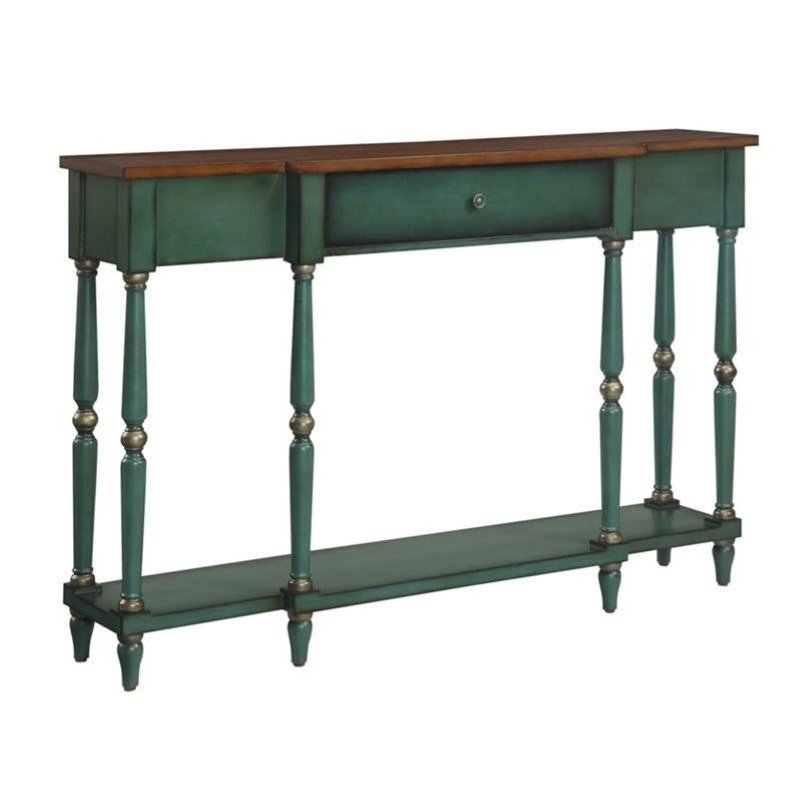 Pemberly Row Two Tone Antique Console Table in Green