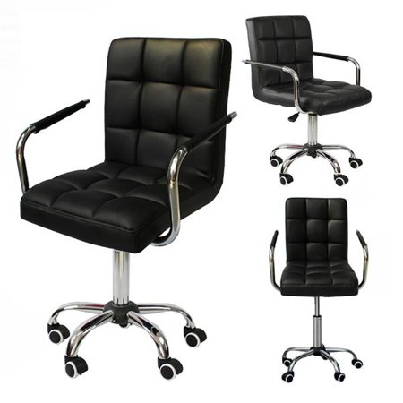 Modern PU Leather Midback Adjustable Executive Office Chair Swivel Stool Chair on Wheels, Black