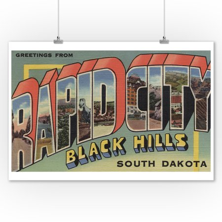 Rapid City, South Dakota - Large Letter Scenes (9x12 Art Print, Wall Decor Travel Poster) ()