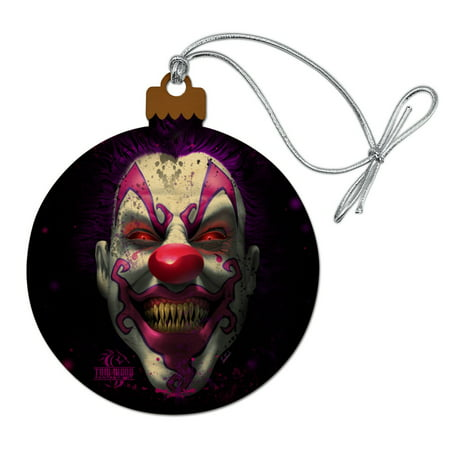 Creepy Scary Clown Keep It Smiling Wood Christmas Tree Holiday Ornament ()