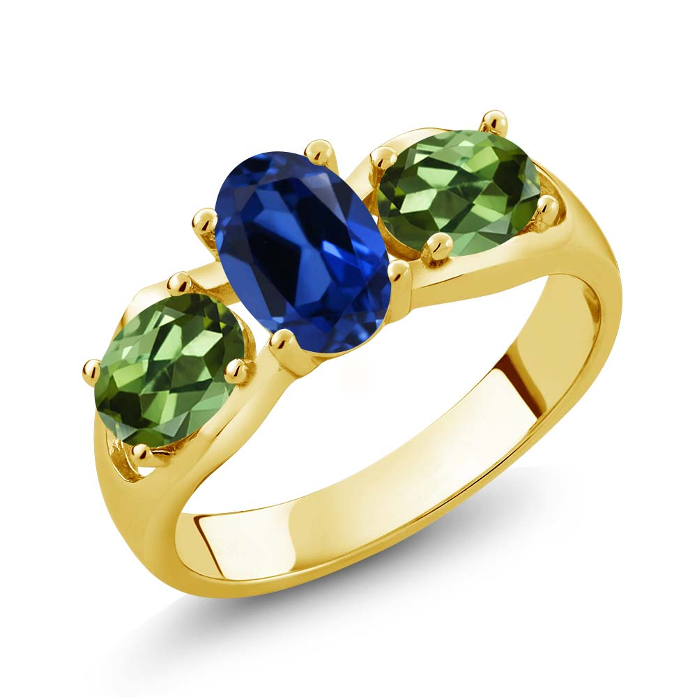 1.90 Ct Oval Blue Simulated Sapphire Green Tourmaline 18K Yellow Gold Ring by