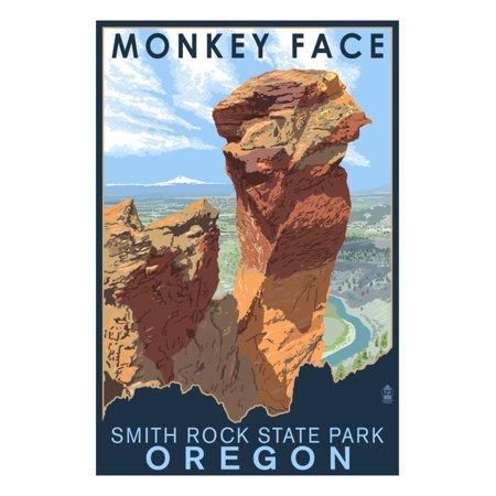 Monkey Rock (Monkey Face - Smith Rock State Park, Oregon Print Wall Art By Lantern Press )
