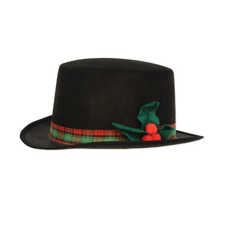 Pack of 12 Black Felt with Plaid Band and Holly Christmas Caroler Hat - Byers Choice Halloween Carolers