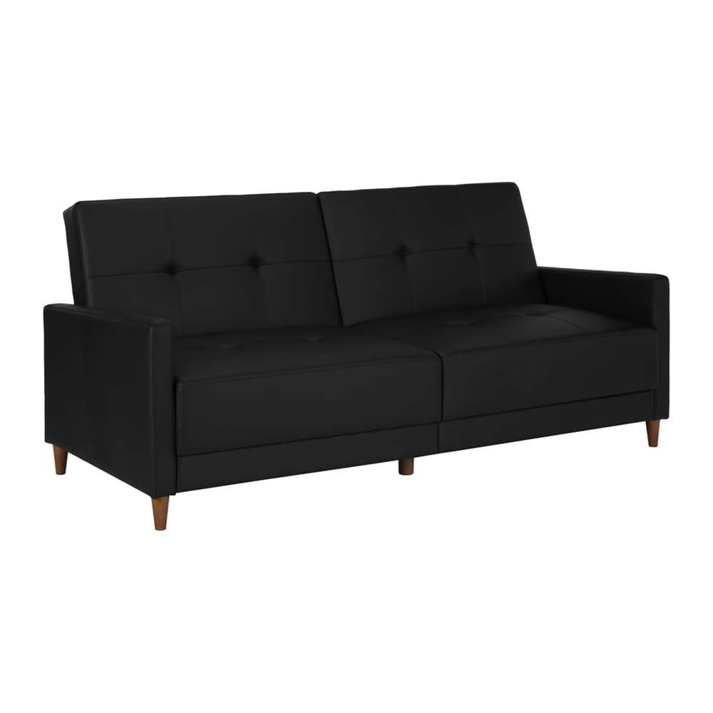 DHP Andora Pocket Coil Futon, Black Faux Leather by Dorel Home Products