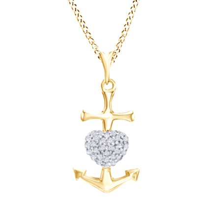 1/10 Carat T W  Natural White Diamond Heart Anchor Pendant Necklace in 14K  Yellow Gold Over Sterling Silver