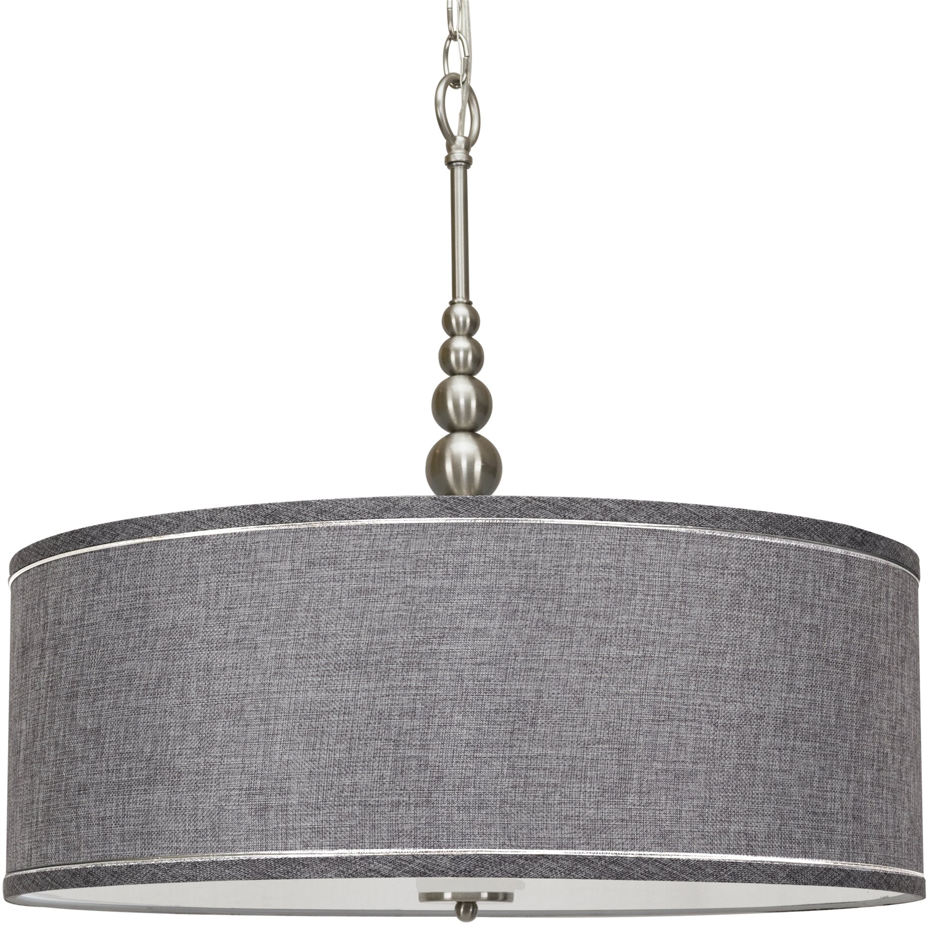 Image of: Kira Home Adelade 22 Drum Pendant Chandelier Gray Fabric Shade Glass Diffuser Adjustable Height Brushed Nickel Walmart Com Walmart Com