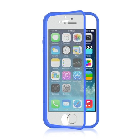 Insten Rubber TPU Case Cover With Screen Protector For Apple iPhone 5/5S, Navy Blue