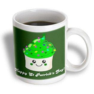 3dRose Happy Saint Patricks Day - St Paddys cute green cupcake - Kawaii Irish Gifts - Ireland shamrocks, Ceramic Mug, 11-ounce