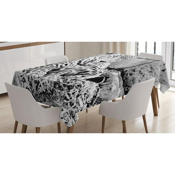 House Decor Tablecloth, Jaguar Wild Big Cats Feline with Dots on