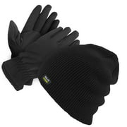 Mens Thermal Insulated Winter Gloves And Beanie Set With Polar Fleece Lining- Winter Gloves & Hat Set