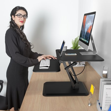 """SLYPNOS Manual Height Adjustable Standing Desk Converter, Sit Stand Desk Riser, Gas Spring Arm, Keyboard Mouse Deck and Cup Holder for Office Home, Fits Up to 27"""" Laptop, (Black, 15.5-In Max. (Dec Keyboard)"""