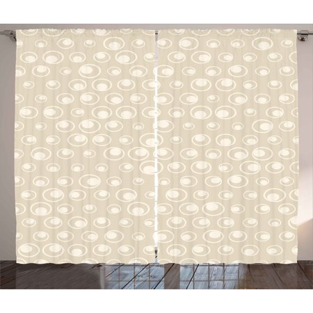 Tan Curtains 2 Panels Set, Spotted Dotted Display Bubble Forms Water Inspired Abstraction Circular Composition, Window Drapes for Living Room Bedroom, 108W X 63L Inches, Tan Eggshell, by (Water Spots On Car Windows Wont Come Off)