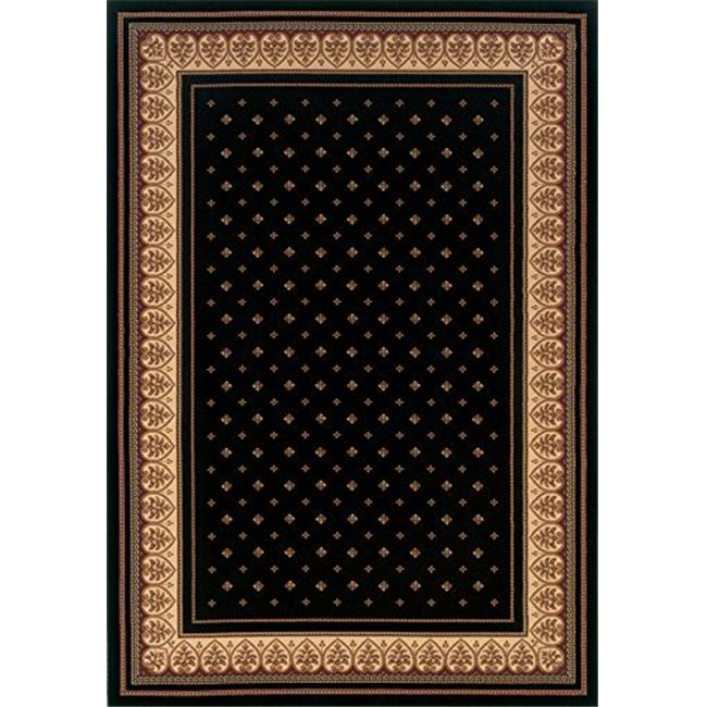 Central Oriental 4338.81.15STMEC Dimensions Mediterranean 023 Lily 100 Percent Heat Set Polypropylene Stair Tread Rug, Black - 9 x 26 in.