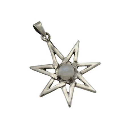 Sterling Silver Septagram Faery Star Pendant w/ Moonstone Cabochon