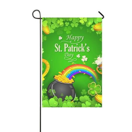 MYPOP Saint Patrick Day Clover Leaves Decor Garden Flag 12x18 inches