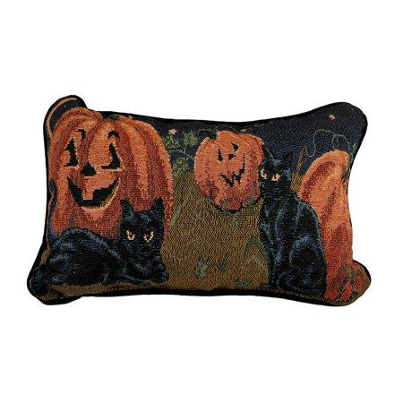 Decorative Pumpkin - Black Cats and Pumpkins Decorative Autumn Accent Pillow