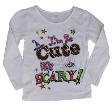 Infant & Toddler Girls Halloween Shirt White I'm So Cute Its Scary T-Shirt (Cute Halloween Drink Names)