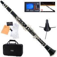 Mendini by Cecilio MCT-E Black Ebonite Bb Clarinet w/1 Year Warranty, Stand, Tuner, 10 Reeds, Pocketbook, Mouthpiece, Case, B Flat