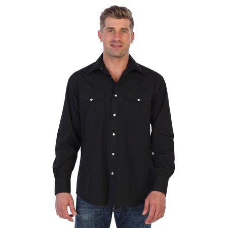 Gioberti Men's Solid Long Sleeve Western Shirt with Pearl Snap-on Buttons Mens Western Snap