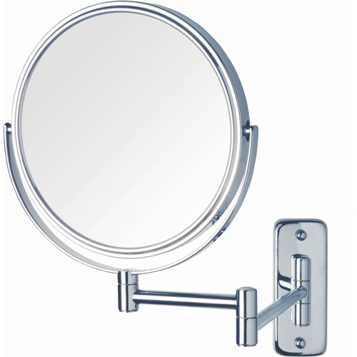"""Jerdon 8"""" 2-Sided Swivel Wall Mount Mirror with 5x Magnification, 13.5"""" Extension, Chrome"""