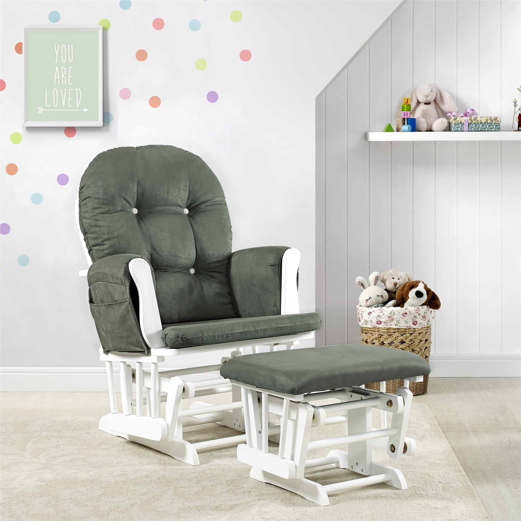Glider And Ottoman White Finish Dark Gray Cushions Nursery Rocking Chair Set