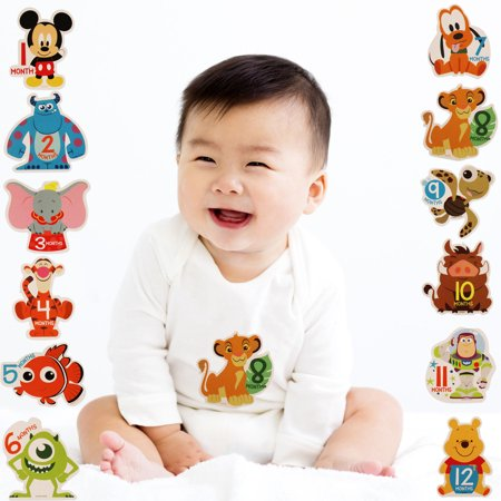 Disney Assorted Character Milestone Photo Prop Belly Stickers Set, Age 0-12M - Photo Stickers
