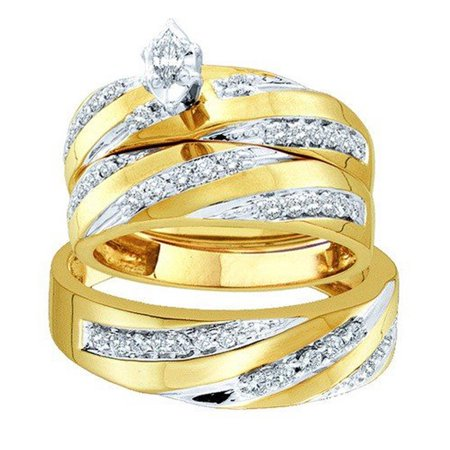 Marquise Cut Diamond Bridal Ring (0.60 Carat (ctw) 10K Gold Marquise & Round Cut Diamond Men & Women's Engagement Ring Trio Bridal Set )