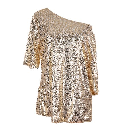 Womens Off-shoulder Sexy Blouses Loose Shirt Tops Glistening Sequin Tank Top Blouse