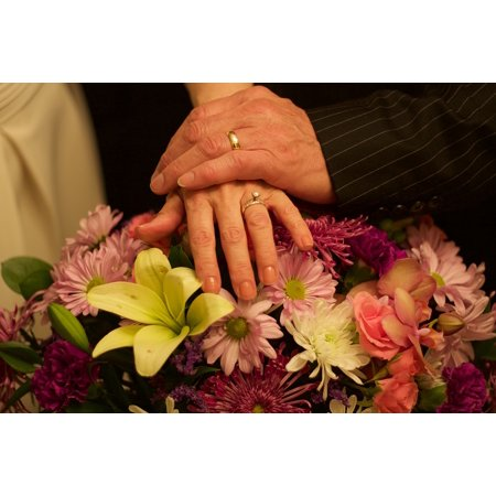 Canvas Print Wedding Marriage Rings Love Hands Bouquet Couple Stretched Canvas 10 x - Bouquet Coupe