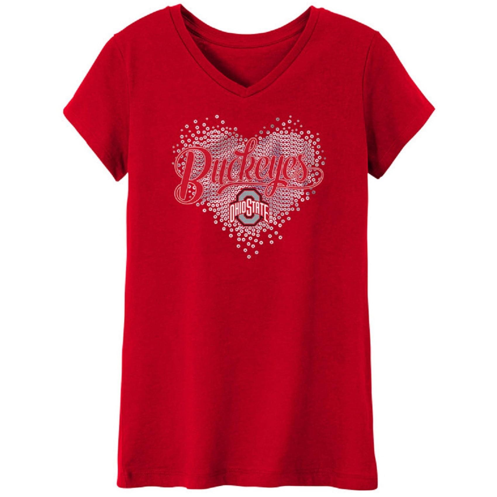 Girls Youth Scarlet Ohio State Buckeyes Heart V-Neck T-Shirt