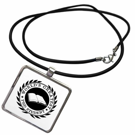 3dRose Worlds Greatest PhD student scholar pride black white badge graphic - Necklace with Pendant (ncl_165002_1) - Lesbian Pride Necklace