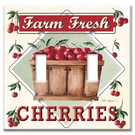 Double Gang Toggle OVERSIZE Wall Plate Farm Fresh Cherries