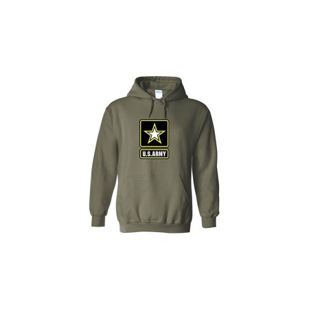 Army Logo Hooded Sweatshirt - US Army Emblem Logo PT Hoodie United States Army Hooded Sweatshirt (Large, Green)