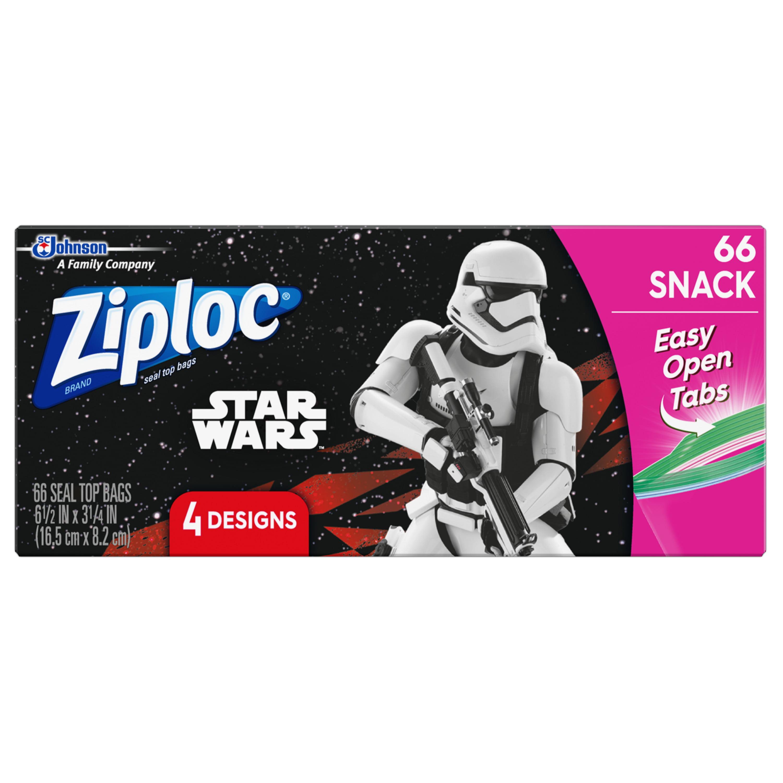 Ziploc Brand Snack BagsFeaturing 4 Different Star Wars Designs, 66ct