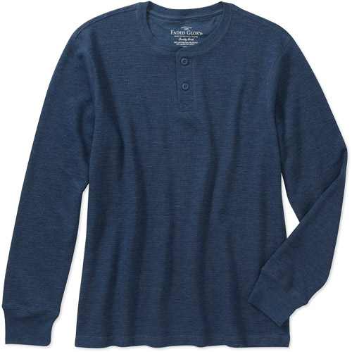 Faded Glory Men's Long Sleeve Solid Thermal Henley