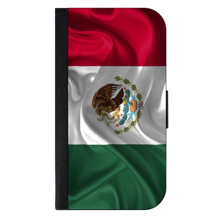 Waving Mexican Flag - Mexico - Print Design - Phone Case Compatible with the Samsung Galaxy s9+ / s9 Plus - Wallet Style with Card (Best Phone Card To Call Mexico)